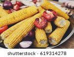 vegan bbq party. barbecue corns ... | Shutterstock . vector #619314278