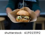 fresh burger cooked at barbecue ... | Shutterstock . vector #619315592