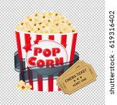 popcorn in cardboard box with... | Shutterstock . vector #619316402