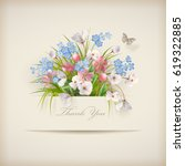 floral 'thank you' card with... | Shutterstock .eps vector #619322885