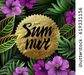 summer background with leaves... | Shutterstock .eps vector #619331156