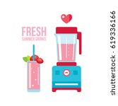 fresh strawberry smoothie and...   Shutterstock .eps vector #619336166
