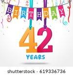42 years birthday celebration...   Shutterstock .eps vector #619336736