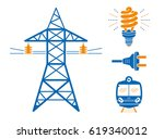 high voltage power line... | Shutterstock .eps vector #619340012