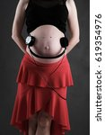 pregnant baby belly funny with... | Shutterstock . vector #619354976