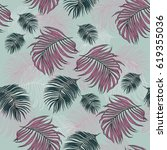 seamless pattern with tropical... | Shutterstock . vector #619355036