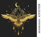 soaring bird of prey. gold... | Shutterstock .eps vector #619357058