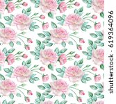 seamless floral pattern with... | Shutterstock . vector #619364096