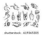 hand gesture sketch set.... | Shutterstock .eps vector #619365305