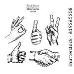 hand gesture sketch set.... | Shutterstock .eps vector #619365308