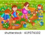 vector design of kids enjoying... | Shutterstock .eps vector #619376102