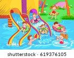vector design of kids playing... | Shutterstock .eps vector #619376105