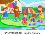 vector design of kids playing