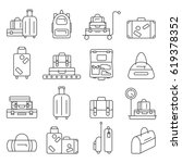 luggage icon set.  backpack ... | Shutterstock .eps vector #619378352