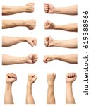 set of male's fist isolated on... | Shutterstock . vector #619388966