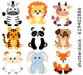 cute cartoon baby animals. dog  ... | Shutterstock .eps vector #619402886