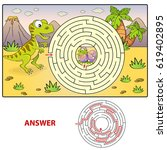 help dinosaur find path to nest.... | Shutterstock .eps vector #619402895