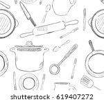 seamless pattern with  kitchen... | Shutterstock .eps vector #619407272