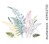 vector floral background  with  ... | Shutterstock .eps vector #619412732