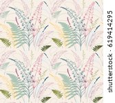 vector floral seamless pattern  ... | Shutterstock .eps vector #619414295