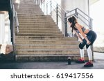 sports woman preparing for a... | Shutterstock . vector #619417556