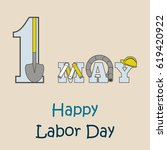 1st may   labor day logo poster ... | Shutterstock .eps vector #619420922
