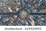 aerial view road roundabout.... | Shutterstock . vector #619424942