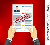 hands holding resume with...   Shutterstock .eps vector #619425602