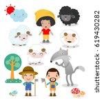 set of shepherd boy with wolf   ...   Shutterstock .eps vector #619430282