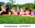 parents with little daughters ... | Shutterstock . vector #61943071