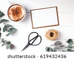 blank paper  coffee and... | Shutterstock . vector #619432436