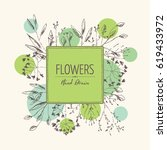 floral background with flower... | Shutterstock .eps vector #619433972