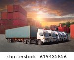 cargo ship loading containers... | Shutterstock . vector #619435856