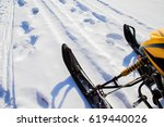 fragment of a snowmobile in... | Shutterstock . vector #619440026