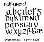 half uncial font | Shutterstock .eps vector #619445525