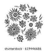 set of floral pattern with... | Shutterstock .eps vector #619446686