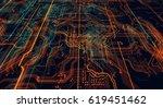 3d illustration. circuit board... | Shutterstock . vector #619451462