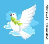 white dove of peace bears olive ... | Shutterstock .eps vector #619458002