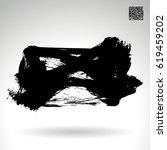 black brush stroke and texture. ... | Shutterstock .eps vector #619459202