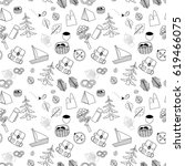 summer traveling print pattern... | Shutterstock . vector #619466075