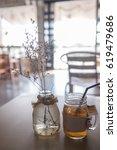 jar of peach tea shot | Shutterstock . vector #619479686