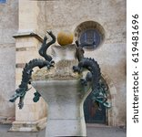 Small photo of 19 Feb 2017, Detail of the Dragon Fountain, situated at the West portal of the Marktkirche Unser Lieben Frauen in Halle (Saale), Germany