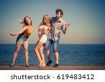 friendship happiness summer... | Shutterstock . vector #619483412