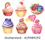 cakes watercolor set with heart | Shutterstock . vector #619484192
