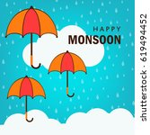 happy monsoon season design ... | Shutterstock .eps vector #619494452