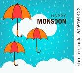happy monsoon  umbrella... | Shutterstock .eps vector #619494452