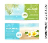 vector set of gift vouchers... | Shutterstock .eps vector #619516622