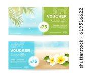 vector set of gift vouchers... | Shutterstock .eps vector #619516622