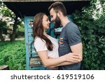 young and stylish couple... | Shutterstock . vector #619519106