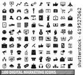 100 digital marketing icons set ... | Shutterstock .eps vector #619527062